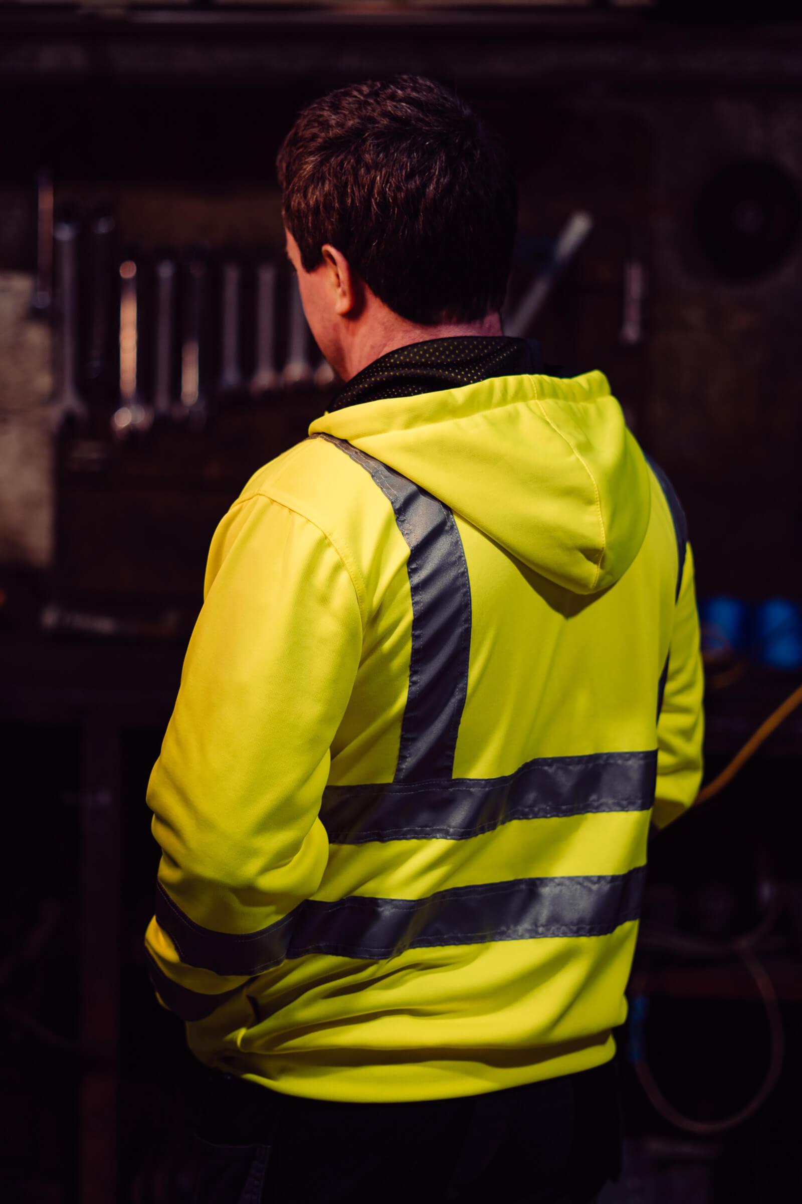 Irish Cranes hi vis Yellow hooded jacket back