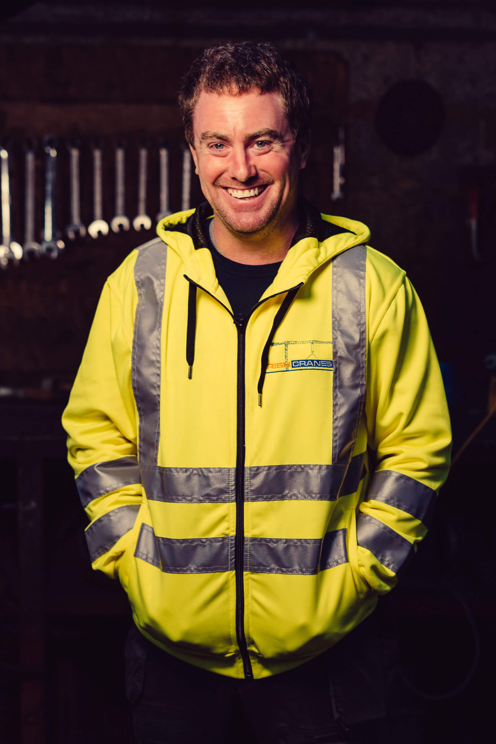 Irish Cranes hi vis Yellow hooded jacket front